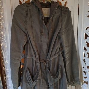 Hooded free people army green jacket